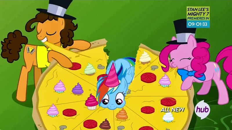 Rainbow Dash demolishes a huge pizza