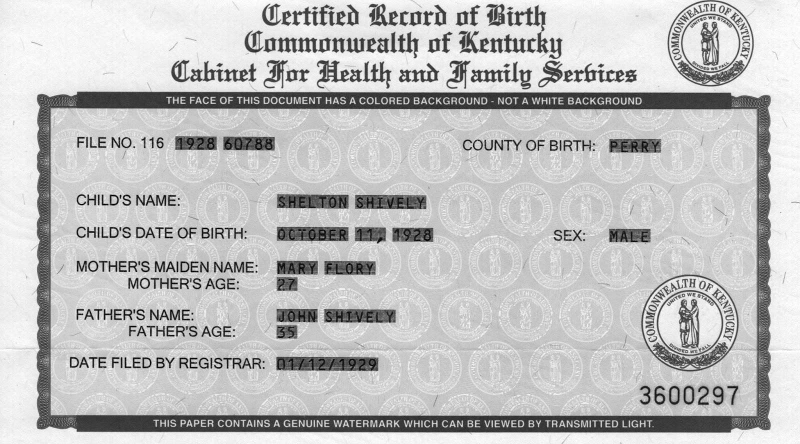 Shively family genealogy september 2015 birth certificate shelton shively aiddatafo Images