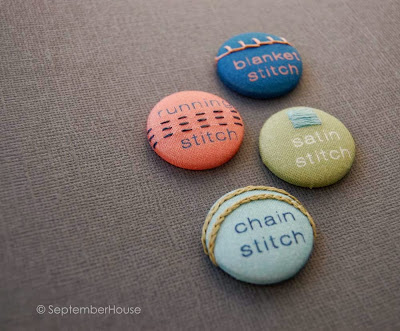 Hand Embroidery Sampler Stitch Buttons by SeptemberHouse