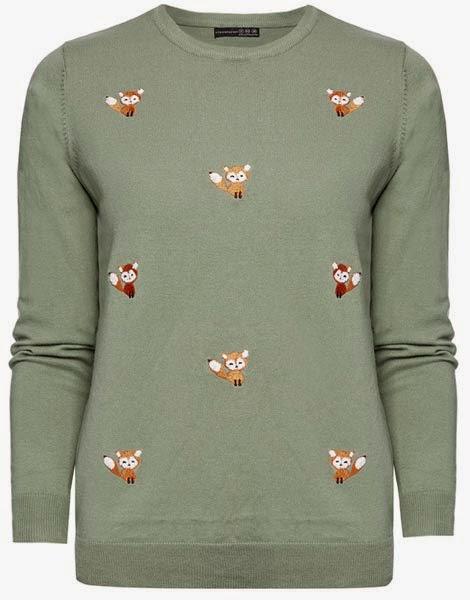 Primark ropa: jersey para mujer en verde con zorros