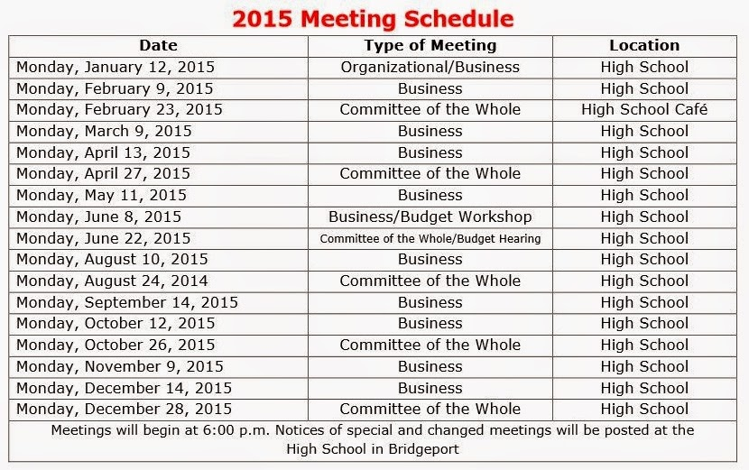 Bridgeport Musings: Bridgeport School Board 2015 Meeting Schedule