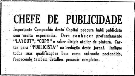 Antigo anúncio de vaga de emprego para publicitários na década de 40.