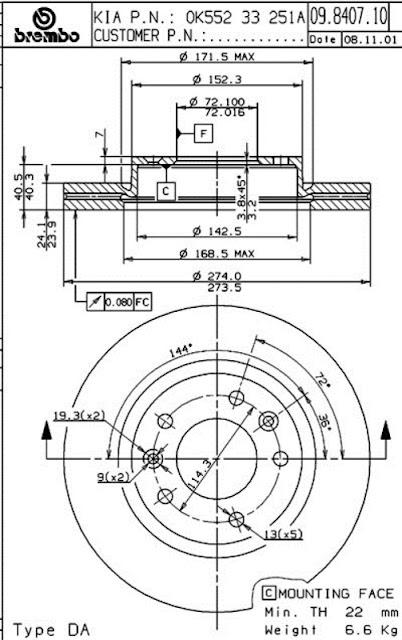 Brake Disc KIA CARNIVAL 2.5 / 2.7(09.8407.10)