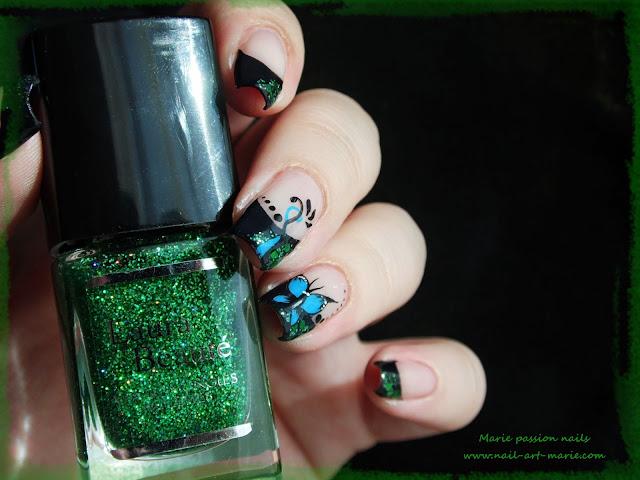 nail art french et papillon5