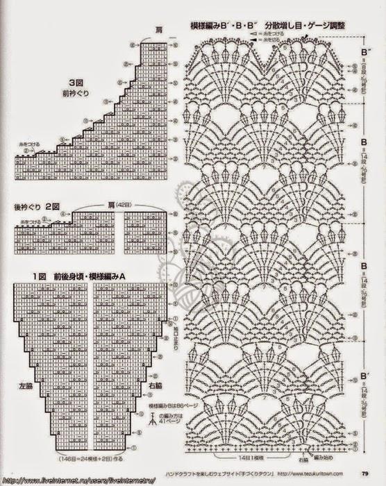 Японские ажурные кофты со схемами