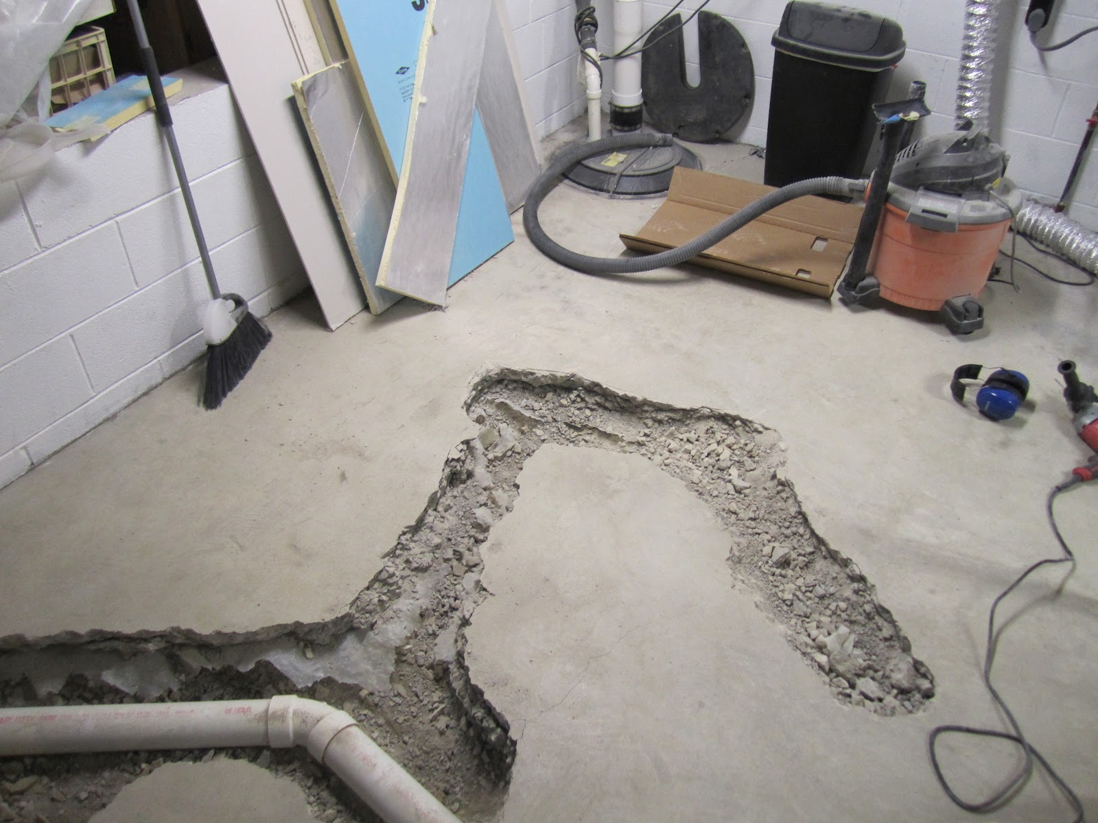 Projects Of Plenty Basement Build Update Stud Walls And Underslab Plumbing With A Surprise