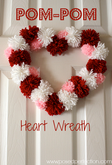 Making a Pom-Pom Heart Wreath is such a simple sweet way to celebrate Valentine's Day!