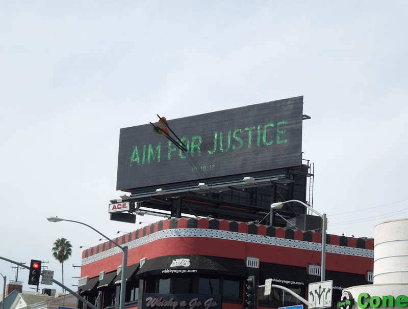 Aim Justice Arrow special installation billboard