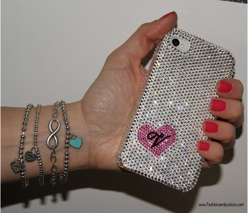 Swarovski crystal iPhone case, DS Styles, Tiffany Infinity bracelet