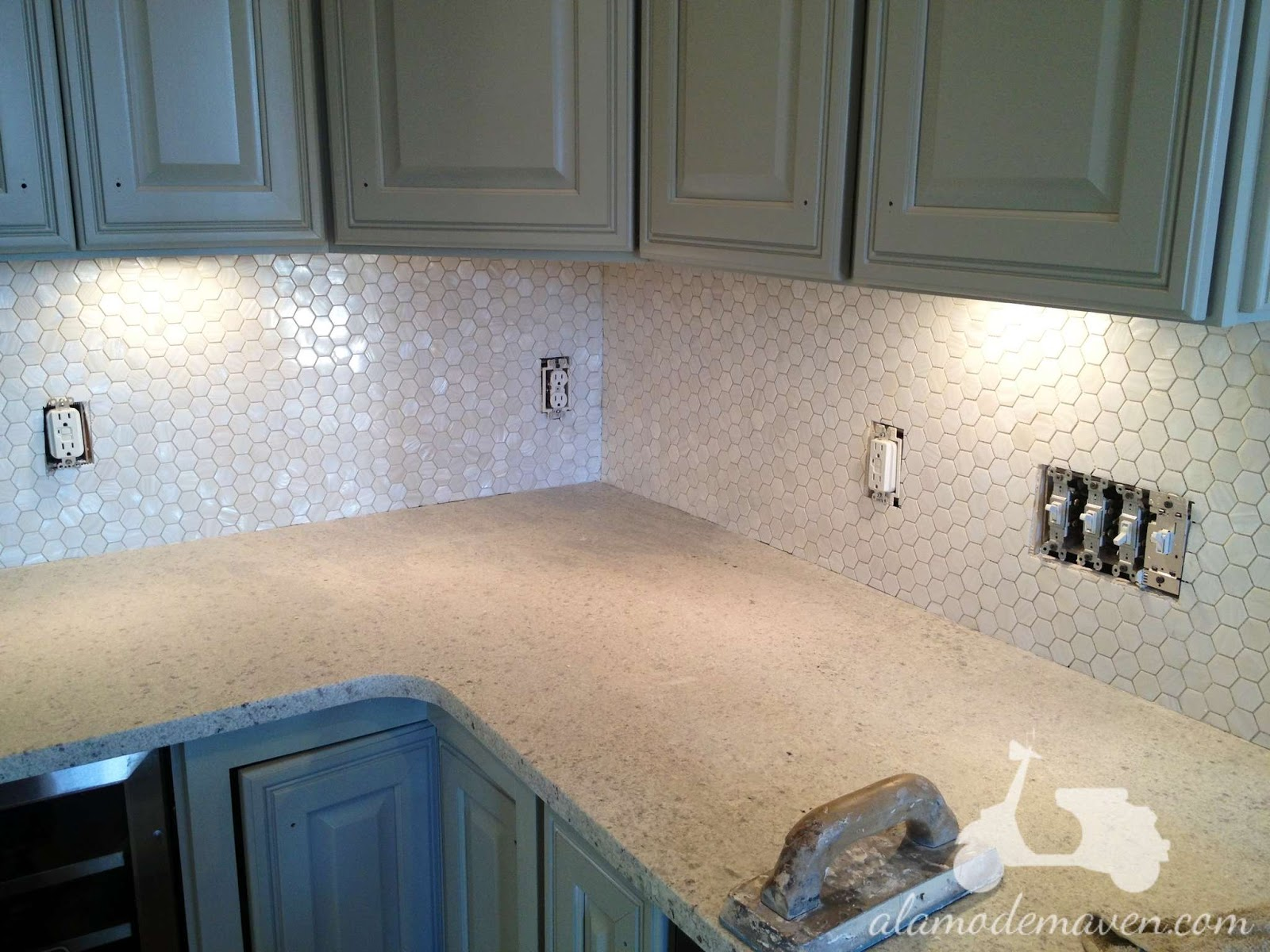 Alamode the new kitchen tile backsplash my tile designer seth from indigo granite and tile designs and i chose a mother of pearl hexagonal tile and i love it dailygadgetfo Image collections