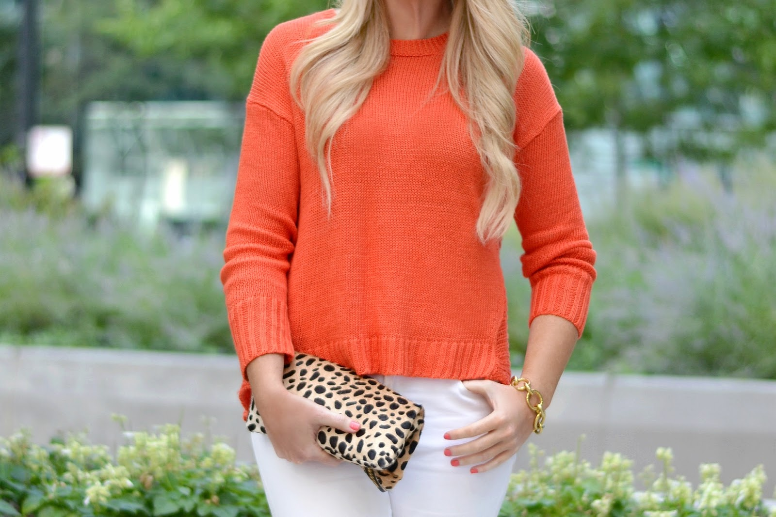 jcrew sweater with clare v leopard clutch