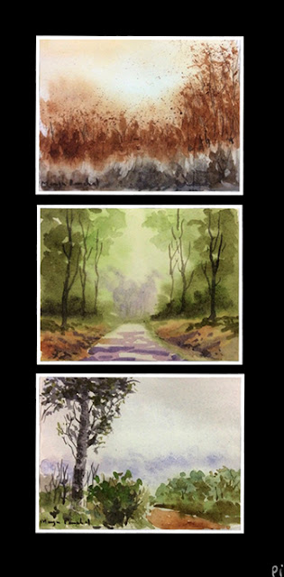 Small water colour paintings on cartridge paper by Manju Panchal
