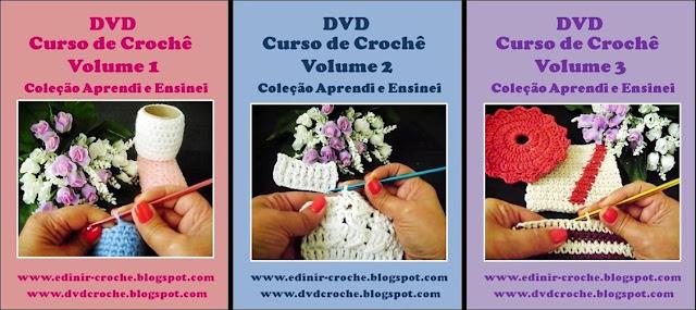 curso de croche dvd 3 volumes da coleção aprendi e ensinei video aulas com frete gratis por Edinir-Croche