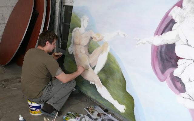 Malowanie stworzenia Adama, reprodukcja obrazu olejnego, malowanie na płótnie