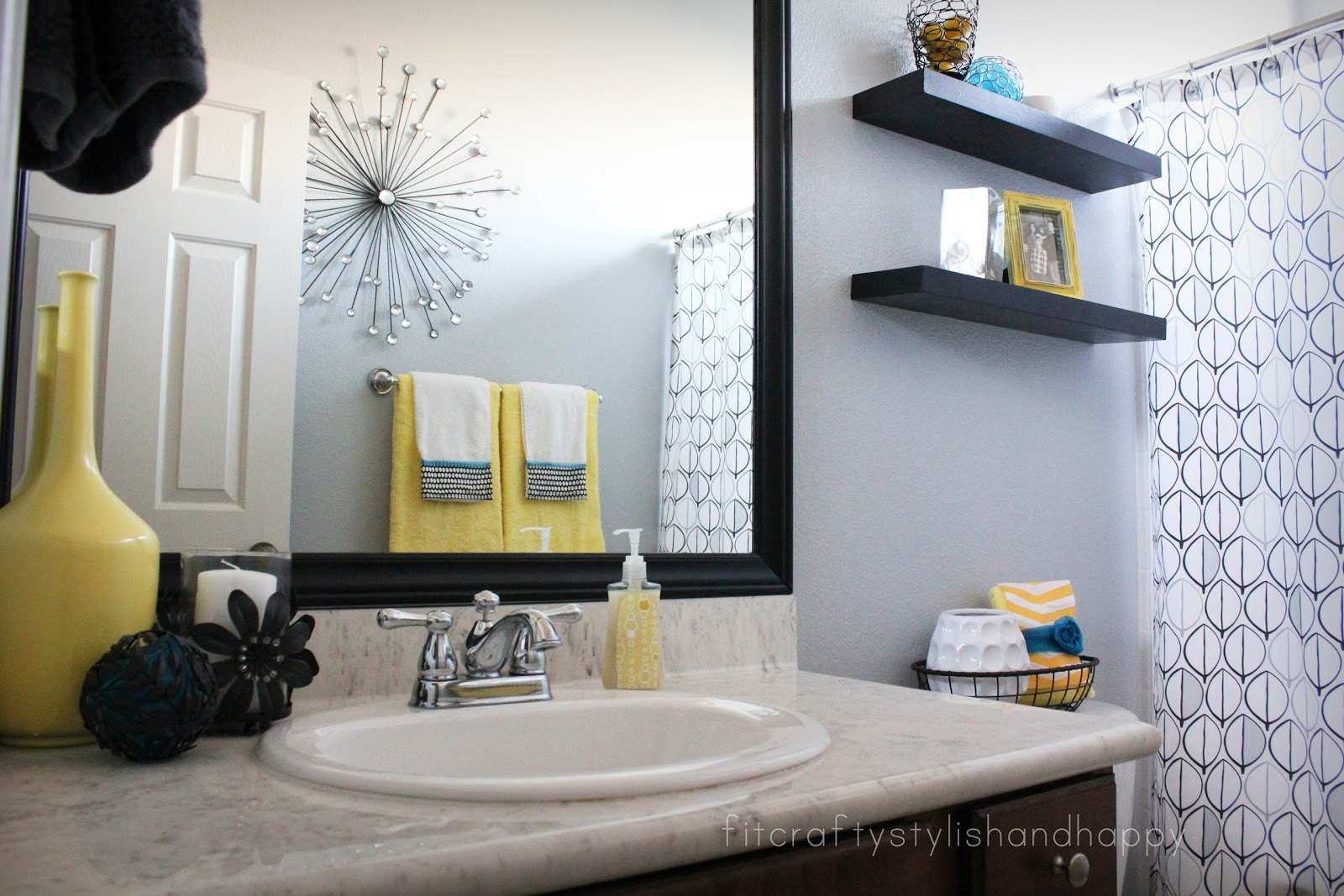 Fit crafty stylish and happy guest bathroom makeover for Teal and gray bathroom ideas