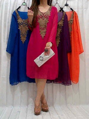 Dress Sifon Bordir + full furing Kode MGTSR-455