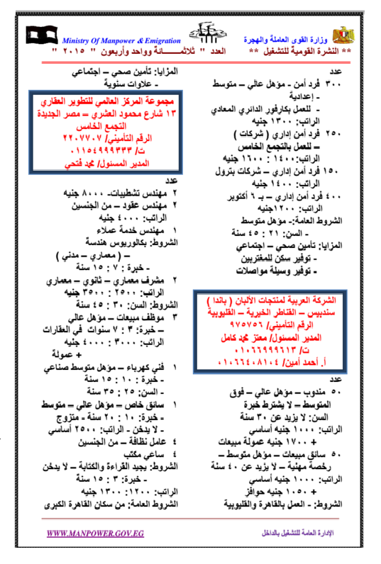 """وزارة القوى العاملة والهجرة  """" النشرة القومية الجديدة للتشغيل """" تعلن عن 4000 وظيفة داخل مصر"""