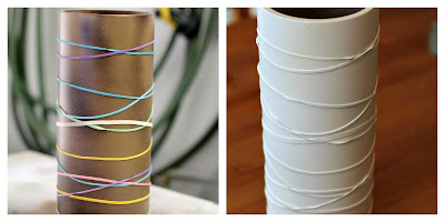 """birch bark"" vase - elastics & spray paint"