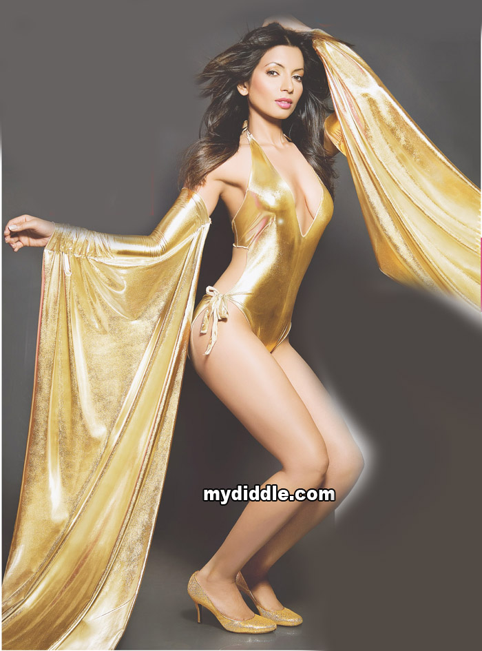 Shama Sikander in a Golden Swimsuit