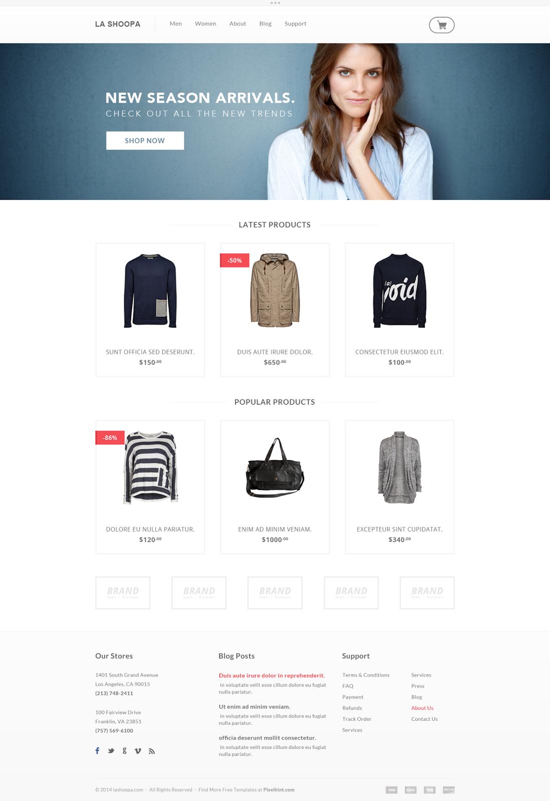 La Shoopa eCommerce Website PSD Template