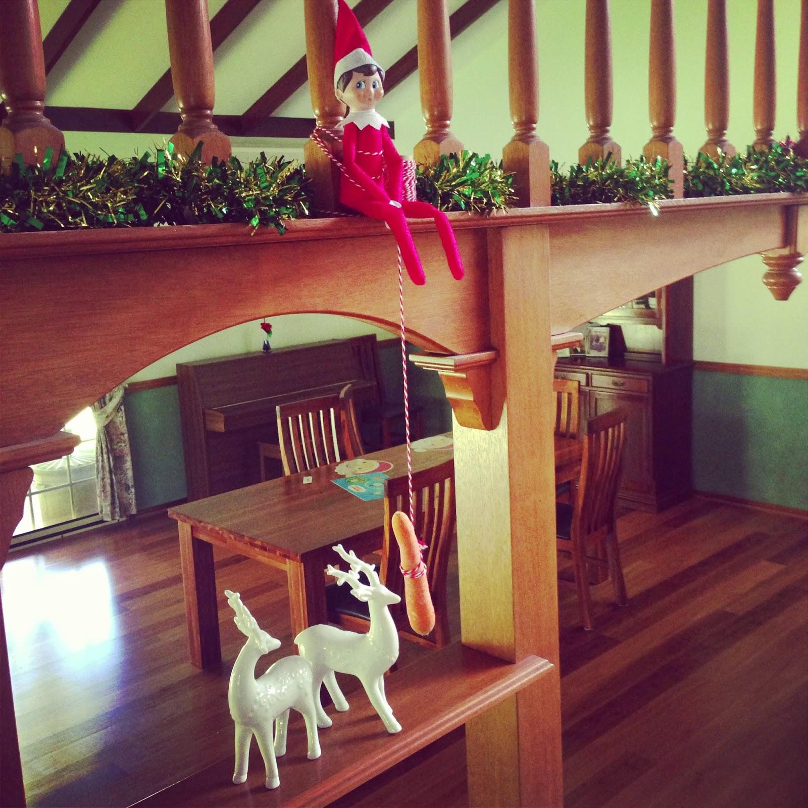 Elf on the shelf feeding a reindeer.