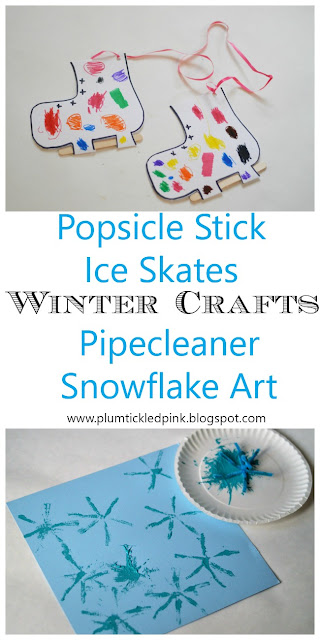 Popsicle Stick Ice Skate Craft-Pipe Cleaner Snowflake Art- Winter Preschool Crafts- www.plumtickledpink.blogspot.com