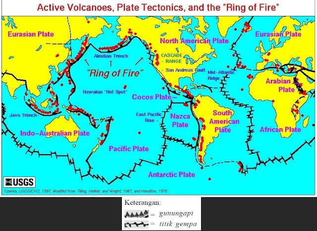 Persebaran gunungapi dan titik gempa di dunia