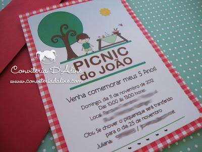 convite tema picnic