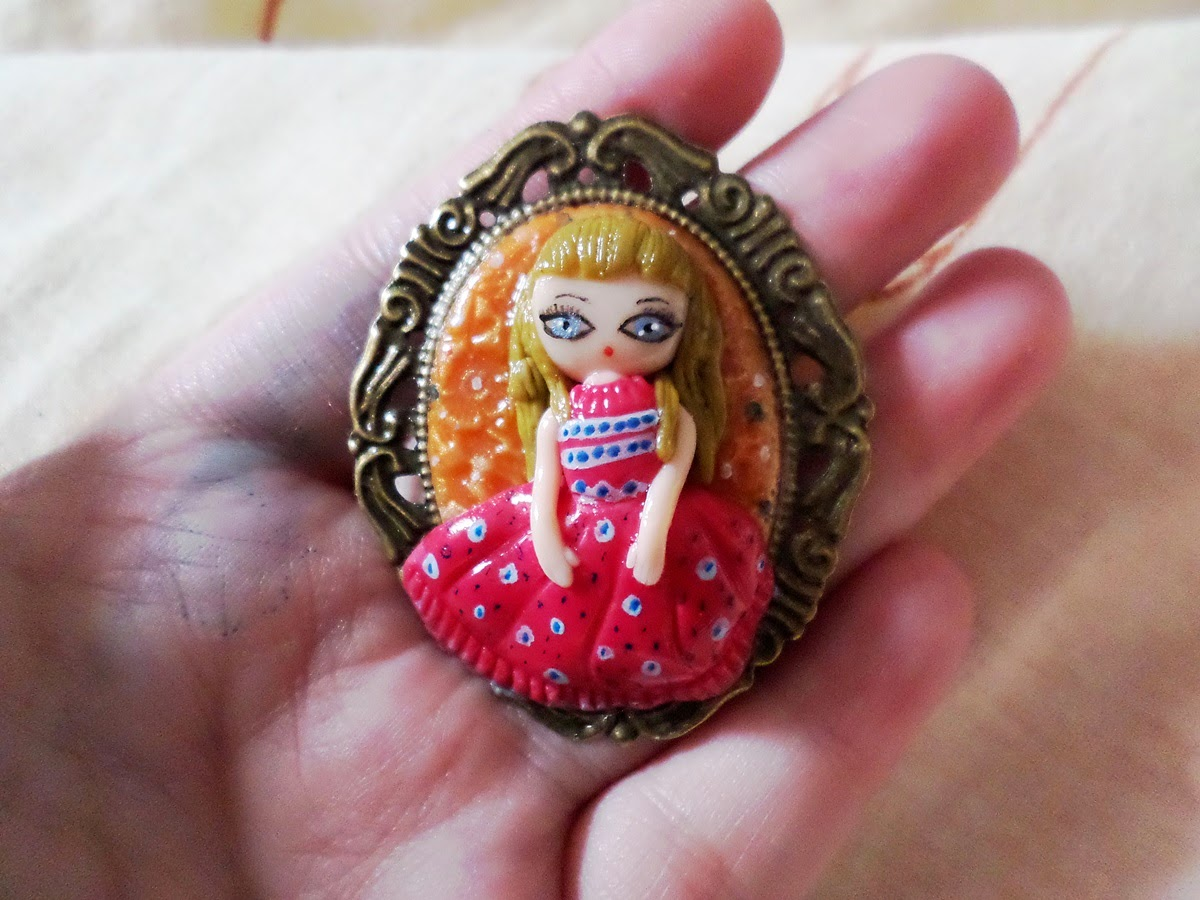 polymer clay technique, polymer clay girl, brass pendant polymer clay, brass jewelry pendant, girl brass pendant,