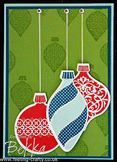 Fun Ornament Christmas Card by Bekka made using Stampin' Up! Supplies including the Ornament Keepsake Stamp Set - everything you need for this project is available at www.feeling-crafty.co.uk