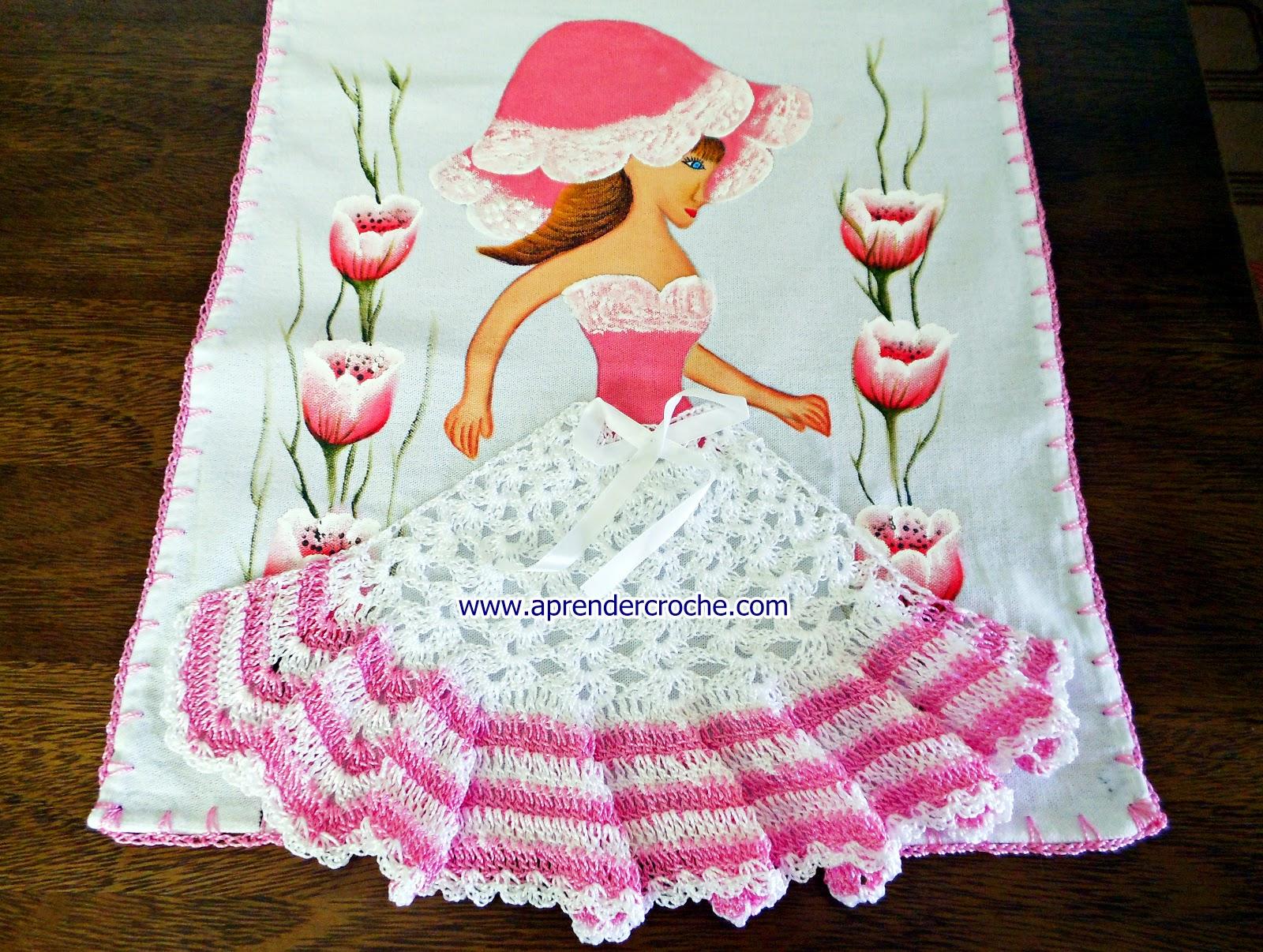 aprender croche com barrados camponesa rosa tulipas