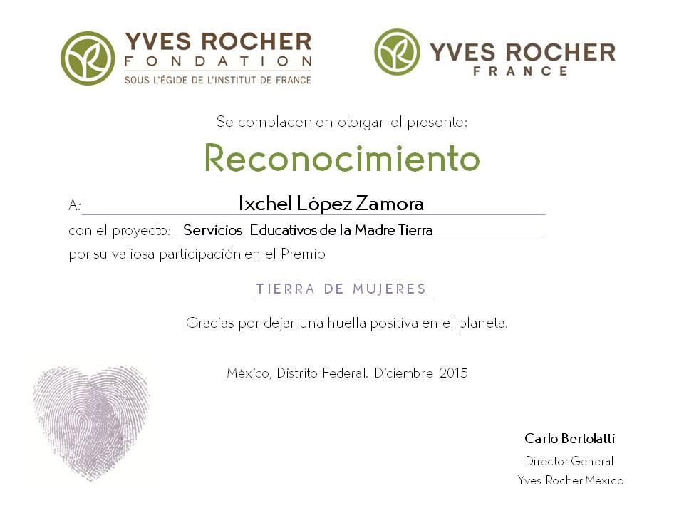 Reconocimiento por participacion  en la Convocatoria de Yves Rocher, Dic. 2015