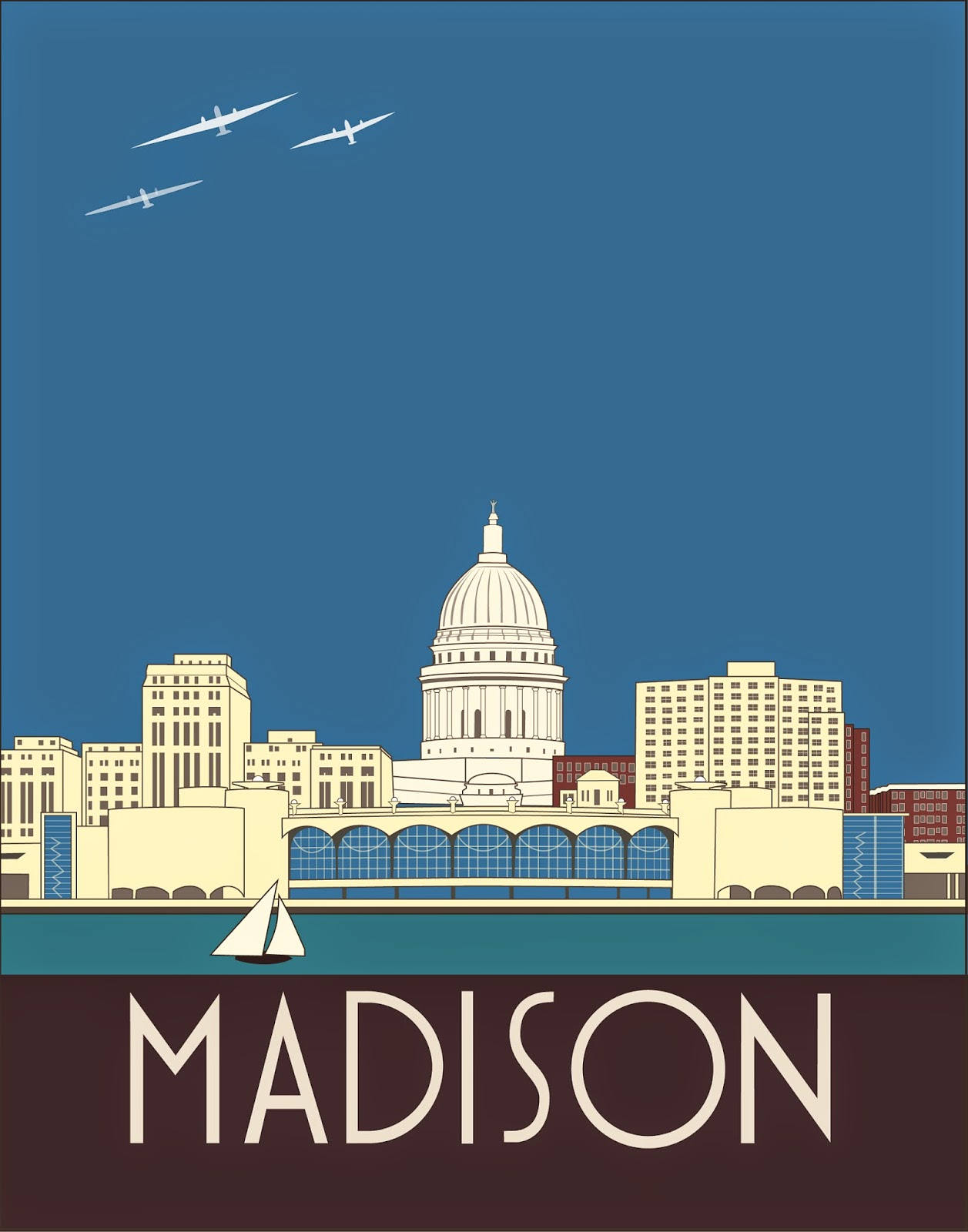 Madison Wisconsin Art Deco Skyline Josef Spalenka adobe illustrator