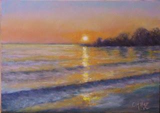 pastel painting, sunrise at gem beach, catawba island ohio, lake erie