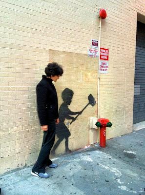 Untitled, aka Hammer Boy, Bansky, #NYC, #streetart, #notquitegraffiti
