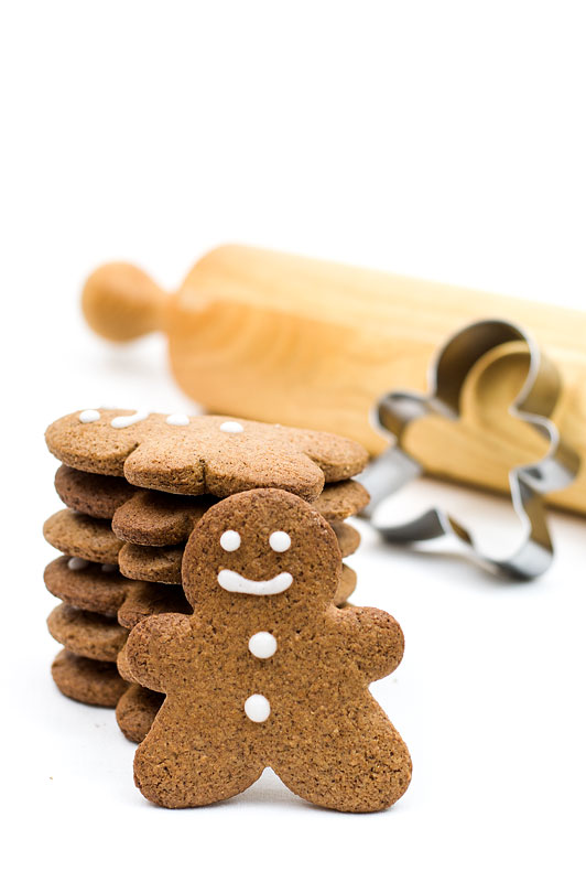 Gingerbread man cookies standing close up