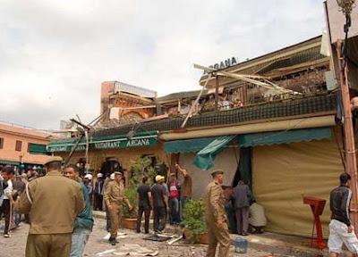 انفجار قوي في مقهى أركانة بساحة جامع الفنا بمراكش Marrakechargananew1