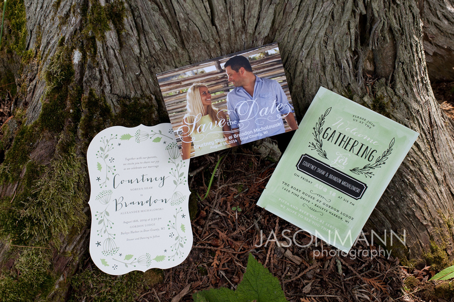Door County wedding invitations for a rustic wedding at Gordon Lodge. Photo by Jason Mann Photography, 920-246-8106, www.jmannphoto.com