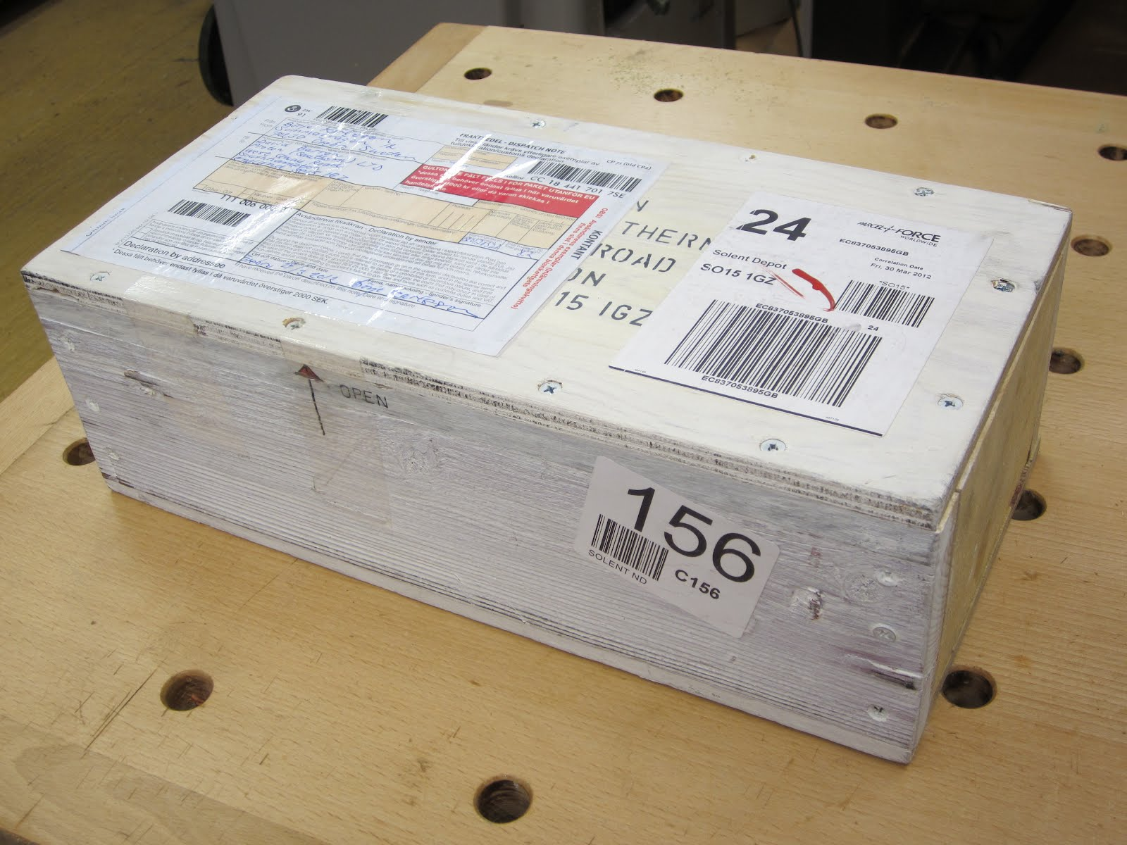 Exceptional Today An Extremely Robust Package Arrived From Sweden In A White Washed  Pine Box.