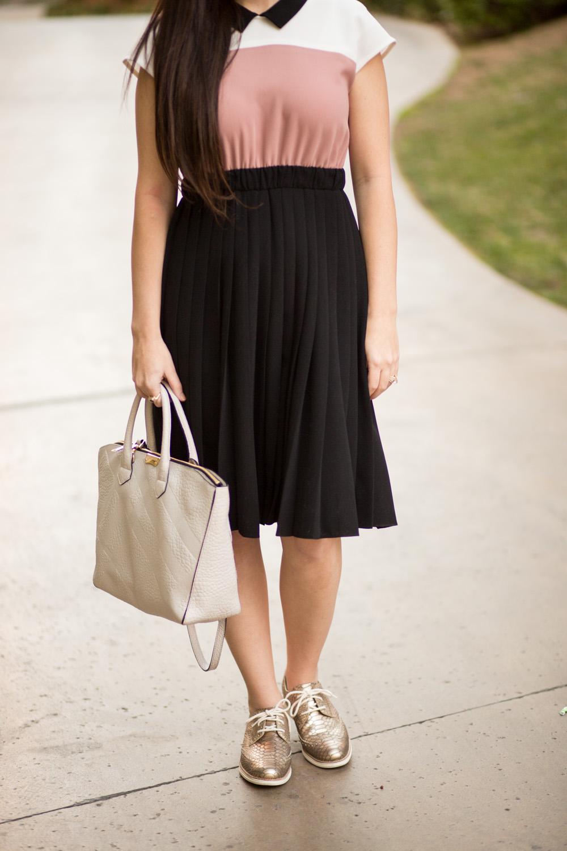 kate spade color block pleated crepe dress
