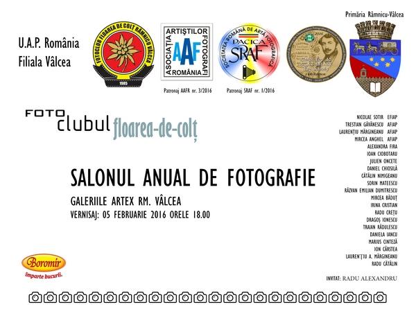 SALONUL ANUAL DE FOTOGRAFIE 5 - 18 FEBRUARIE 2016 GALERIILE ARTEX RM. VÂLCEA