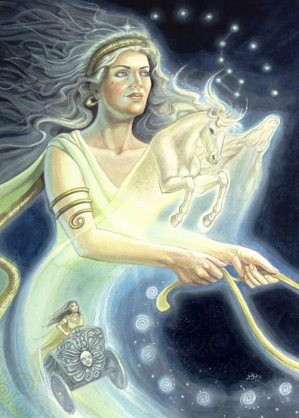 La Luna (Selene en la mitología griega), diosa de la luna
