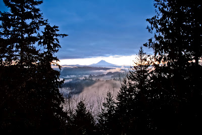 Mt. Hood, dusk, evening, trees, Maiden Foundry