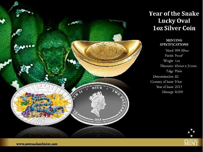 Success 1oz Silver Proof Coin Perth ANDA Coin Show Issue 2013 Year of the Snake