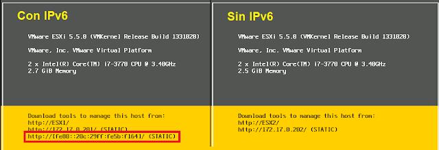 Consola ESXi, verificación IPv6