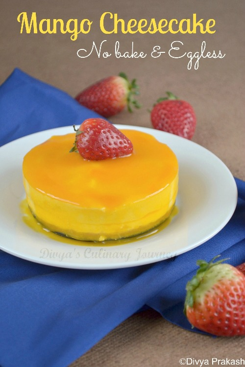Egg less and No bake mango cheesecake