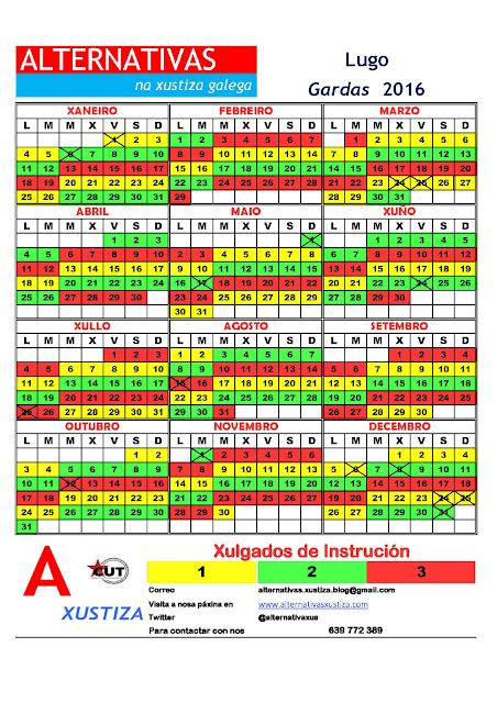 Lugo. Calendario gardas 2016