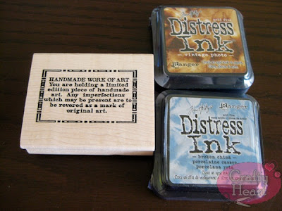 Stampers Anonymous Handmade Work of Art rubber stamp, Tim Holtz distress ink pads