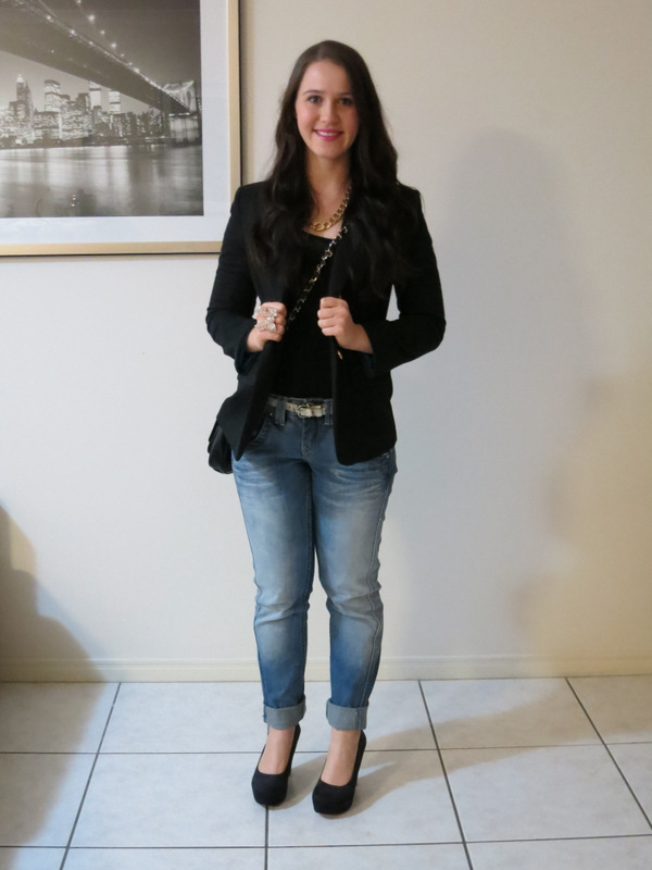 Denim boyfriend jeans, black lace top, black blazer, black heels and gold jewellery