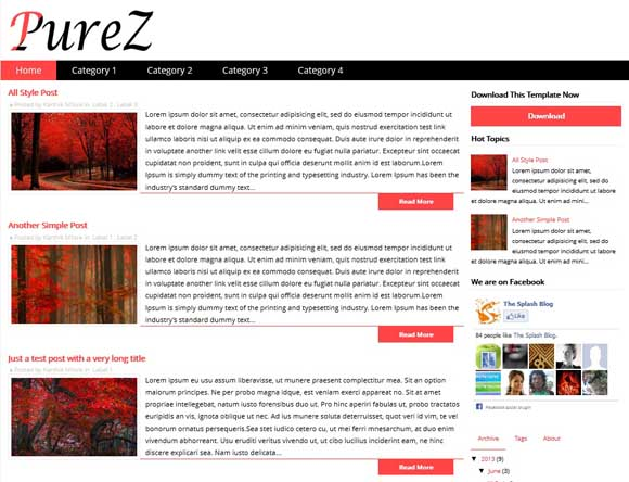 PureZ Responsive Blogger Template